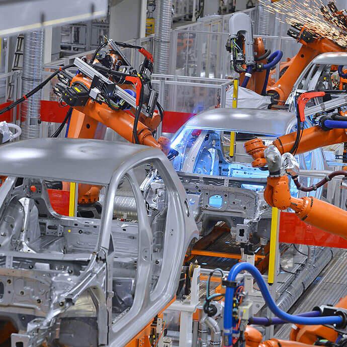 Roboterstrasse in der Automobilindustrie